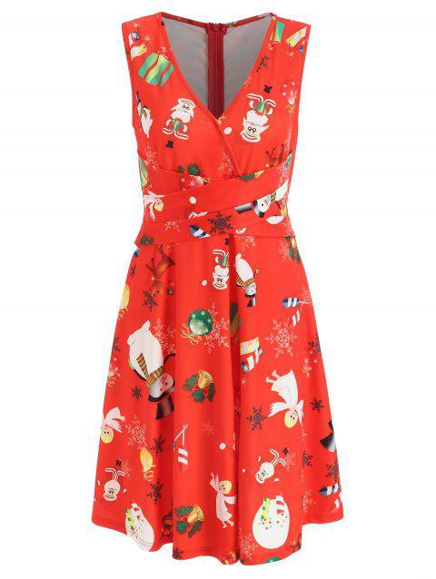 Christmas Criss Cross Printed A Line Dress - RED L