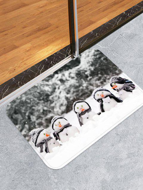 Christmas Snowman Brother Non-slip Flannel Floor Rug - GRAY W16 X L24 INCH