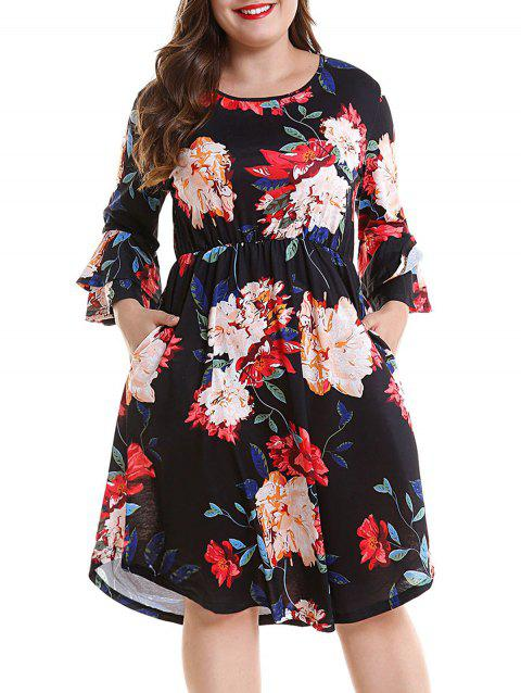Plus Size Print Bell Sleeve Casual Dress - BLACK L