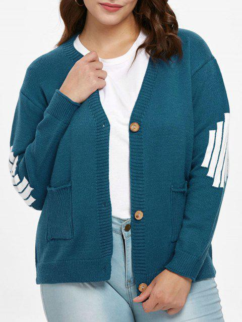 Plus Size Buttoned Sweater Cardigan - PEACOCK BLUE 1X