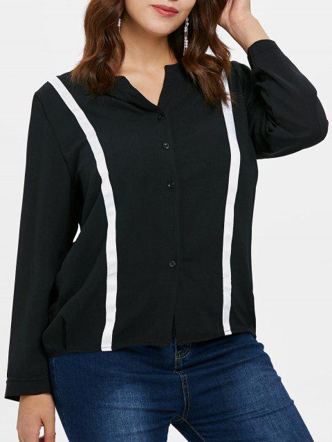 Plus Size Color Block Buton Up Top - BLACK L