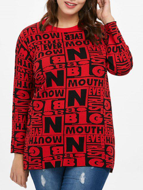 Plus Size Letter Pattern Tunic Sweater - RED ONE SIZE