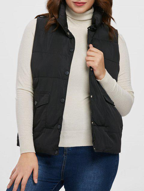 Plus Size Buttoned Down Vest - BLACK L