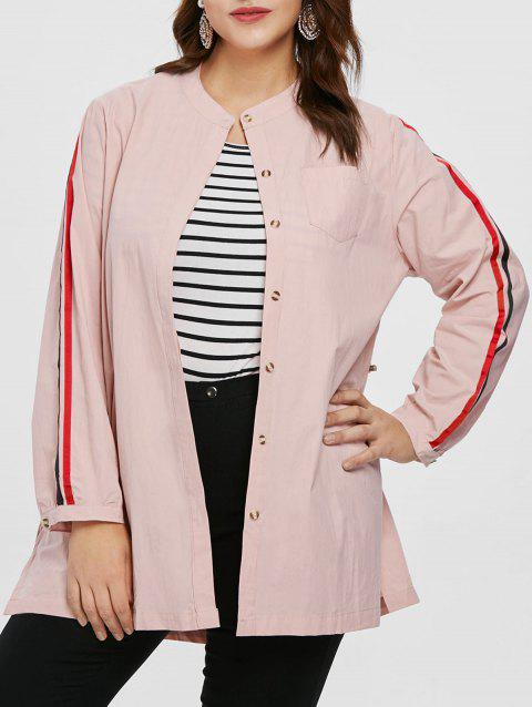 Plus Size Double Striped Tunic Coat - PINK 2X