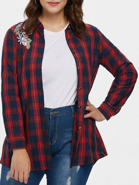 Plus Size Plaid Embroidery Shirt - RED 1X