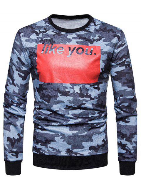 Sweat-Shirt à Manches Longues avec Imprimé Camouflage et Inscription Like You - Bleu 2XL