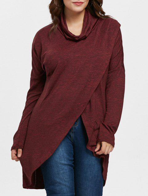 Asymmetrical Plus Size Cowl Neck Sweatshirt - RED WINE 1X