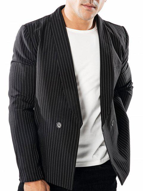 41a4de07cdcd73 41% OFF  2019 Casual Upright Pinstripe Printed Blazer In BLACK XL ...