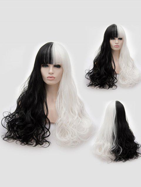 Full Bang Long Two Tone Wavy Party Synthetic Wig - multicolor A