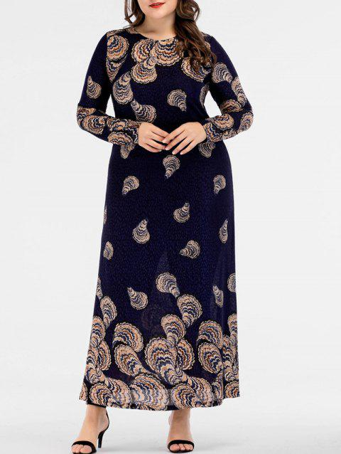 17% OFF] 2019 Plus Size Maxi Print Semi Formal Dress In BLACK ...