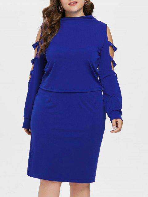 Plus Size High Neck Ripped Top with Skirt