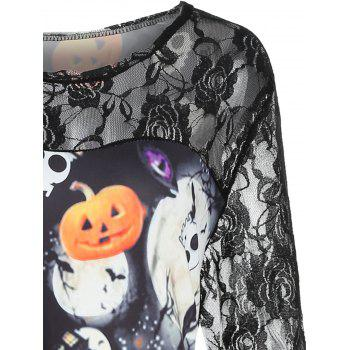 Plus Size Lace Pumpkin Halloween Dress - BLACK 1X