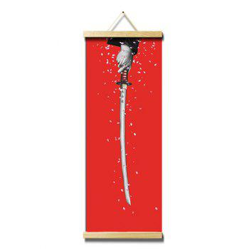 Katana and Sakura Print Wall Hanging Canvas Painting - RED 25*80CM