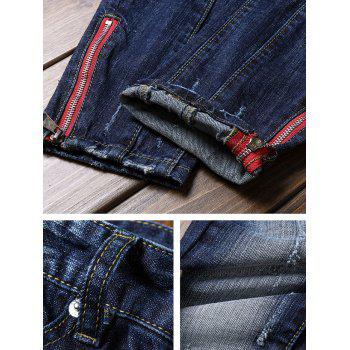 Retro Zipper Embellished Destructed Nine Minutes of Jeans - BLUE 36