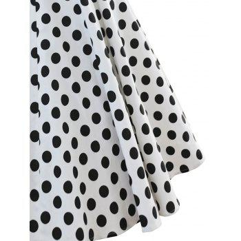 Vintage Criss Cross Dotted Pin Up Dress - WHITE M