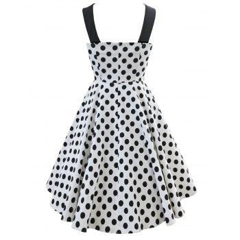 Vintage Criss Cross Dotted Pin Up Dress - WHITE L