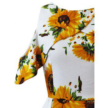 Open Shoulder Sunflower Fit and Flare Dress - WHITE XL