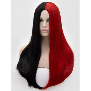Middle Part Two Tone Long Straight Party Synthetic Wig - multicolor B