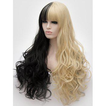 Full Bang Long Two Tone Wavy Party Synthetic Wig - multicolor B