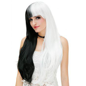Long Full Bang Two Tone Straight Party Cosplay Synthetic Wig - multicolor A