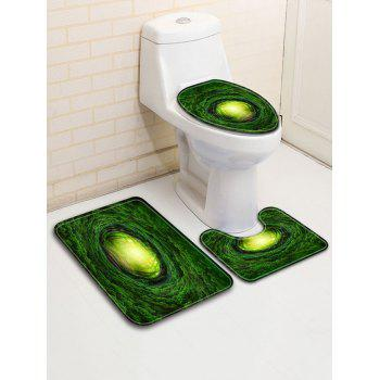 Forest Print 3 Pcs Bathroom Toilet Mat - JUNGLE GREEN