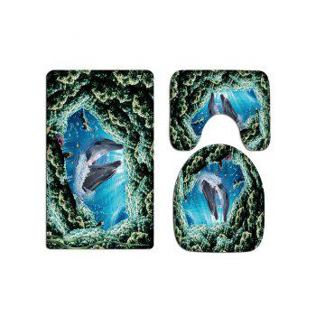 Dolphin Print 3 Pcs Bathroom Toilet Mat - GREENISH BLUE