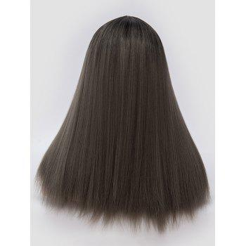 Middle Part Ombre Long Straight Party Synthetic Wig - DARK GRAY