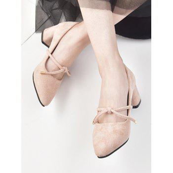 Pointed Toe Knotted Chunky Heel Pumps - LIGHT PINK EU 38