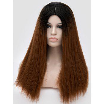 Middle Part Ombre Long Straight Party Synthetic Wig - BROWN