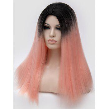 Middle Part Ombre Long Straight Party Synthetic Wig - ORANGE PINK