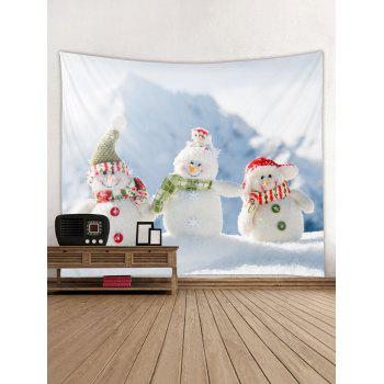Christmas Snowman Brother Print Wall Tapestry Art Decoration - multicolor W91 X L71 INCH