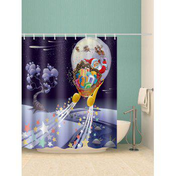 Christmas Night Santa Claus Print Waterproof Shower Curtain - multicolor W59 INCH * L71 INCH
