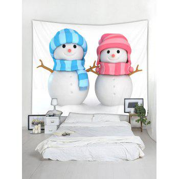 Christmas Snowman Lovers Print Wall Tapestry Art Decoration - multicolor W59 X L59 INCH