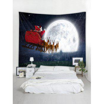 Father Christmas Deer Moon Wall Tapestry Art Decor - RED W79 X L59 INCH