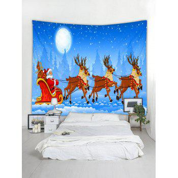 Father Christmas Deer Wall Tapestry Decoration - SKY BLUE W79 X L59 INCH