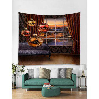 Christmas Ball Wall Tapestry Art Decoration - RED W59 X L59 INCH