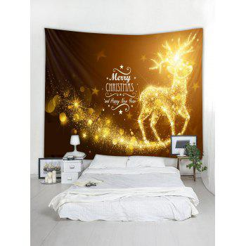 Merry Christmas Elk Print Wall Tapestry Art Decoration - YELLOW W91 X L71 INCH