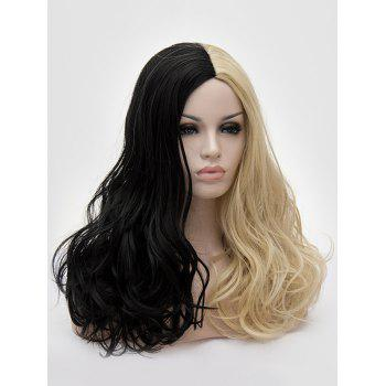 Middle Part Two Tone Long Wavy Party Cosplay Synthetic Wig - multicolor B