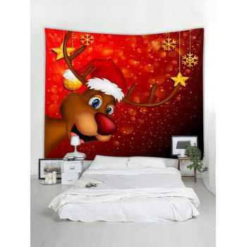 Christmas Deer Snowflake Print Wall Tapestry Art Decoration - RED W79 X L59 INCH