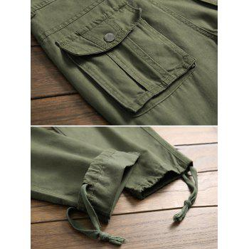 Knotting Bottom Multi-pocket Cargo Pants - ARMY GREEN 34