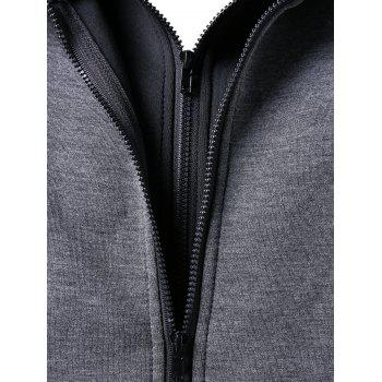 Zip Up Faux Twinset Hoodie - GRAY XL