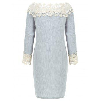 Lace Panel Sleepwear Dress - BLUE GRAY M