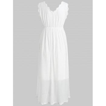 Embroidered Sleeveless Sleeping Dress - WHITE L