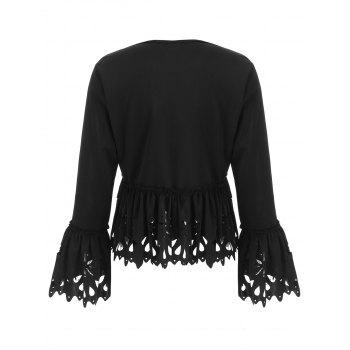 Open Front Laser Cut Peplum Jacket - BLACK L
