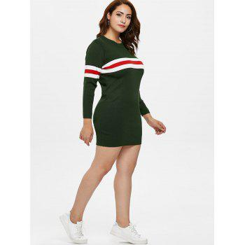 Plus Size Sweater Tunic Dress - ARMY GREEN 2X