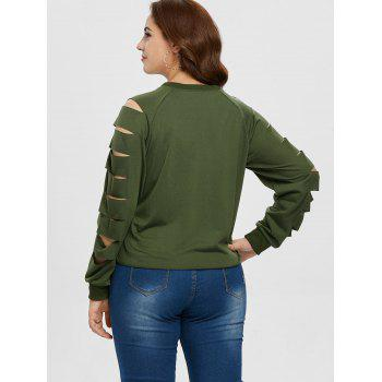 Round Neck Plus Size Ladder Cut Out Sleeve T-shirt - ARMY GREEN 2X