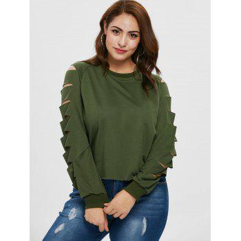 Round Neck Plus Size Ladder Cut Out Sleeve T-shirt - ARMY GREEN 1X
