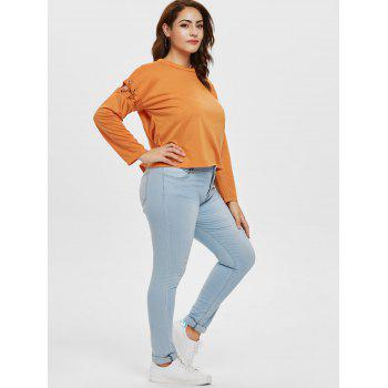 Cut Out Sleeve Plus Size Round Neck T-shirt - TANGERINE L