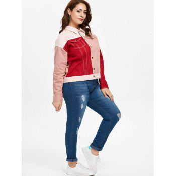 Plus Size Color Block Double Pocket Jacket - multicolor 1X