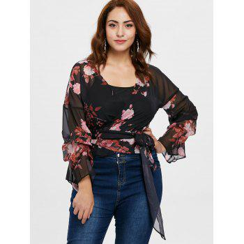 Plus Size Print Self Tie Blouse - BLACK 2X
